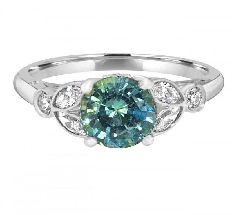 Unique Gemstone Diamond District Engagement Rings